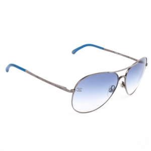 Chanel Silver and Blue Unisex Aviators