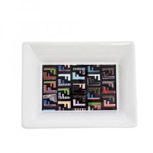 Fendi White Logo Print Porcelain Ashtray
