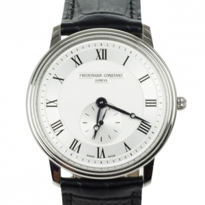 Frederique Constant Stainless Steel Leather Quartz Unisex Wristwatch 37 MM