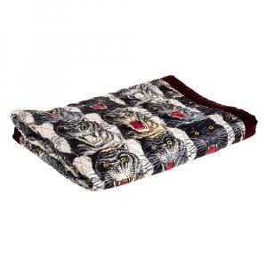 Gucci Burgundy Velvet & Tiger Printed Silk Quilt