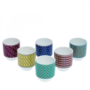 Hermes Multicolor Porcelain Tie Set Espresso Cups
