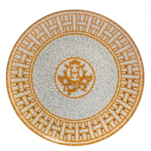 Hermès Gold Mosaique AU 24 Dessert Plate Set of 2