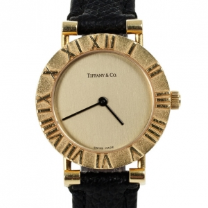 Tiffany & Co. Gold Dial 18K Yellow Gold Atlas L0630 Women's Wristwatch 24 mm