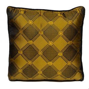 Versace Medusa Yellow / Black Cotton & Velvet Cushion