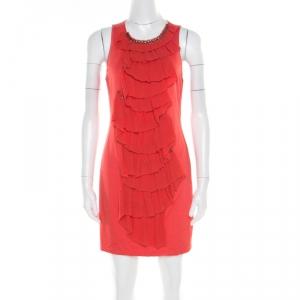 3.1 Phillip Lim Orange Stretch Knit Chiffon Ruffled Embellished Sleeveless Dress M - used