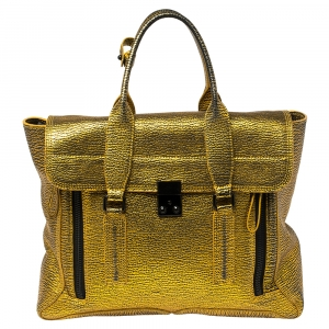 3.1 Phillip Lim Gold/Black Leather Large Pashli Satchel