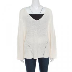 Acne Studios Cream Chunky Linen Knit Deborah V Neck Pullover M