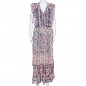 Zadig and Voltaire Purple Georgette Drawstring Waist Rimana Maxi Dress S - used