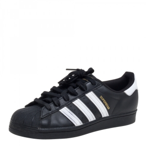 Adidas Black/White Leather And Rubber Superstar Low Top Sneakers Size 39 1/3 - used