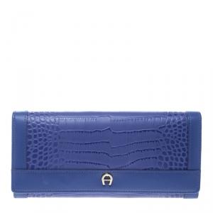 Aigner Purple Croc Embossed Continental Wallet
