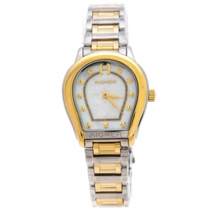 Aigner Mother of Pearl Two-Tone Stainless Steel Vicenza A111212 Women's Wristwatch 30 mm