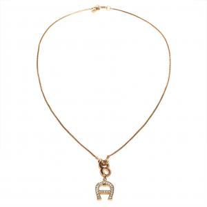 Aigner Gold Tone Crystal Logo Pendant Necklace