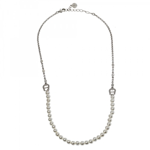 Aigner Crystal & Faux Pearl Silver Tone Necklace