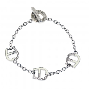 Aigner Silver Tone Crystal and Enamel Logo Toggle Bracelet