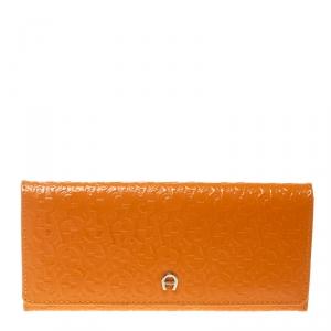 Aigner Orange Signature Patent Leather Continental Wallet