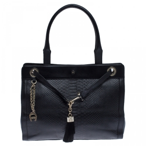 Aigner Black Python Embossed Leather Cavallina Tote