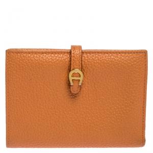 Aigner Orange Leather Compact Wallet