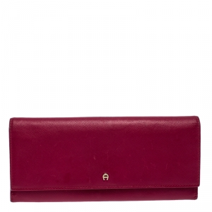 Aigner Magenta Leather Flap Continental Wallet