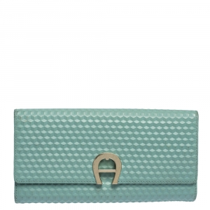 Aigner Mint Green Embossed Leather Genoveva Continental Wallet