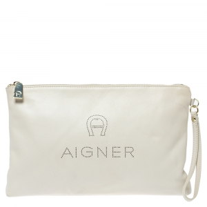 Aigner Cream Leather Wristlet Pouch