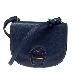Aigner Blue Grained Leather Mini Pina Crossbody Bag