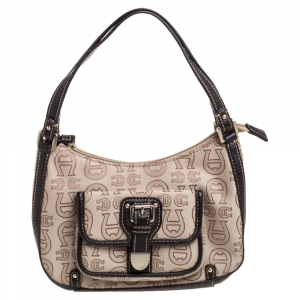 Aigner Monogram Canvas And Leather Front Pocket Baguette Shoulder Bag