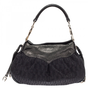 Aigner Black Signature Canvas and Shimmer Nubuck Leather Logo Handle Hobo