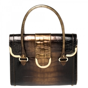 Aigner Brown Ombre Croc Embossed Leather Metal Bar Flap Tote