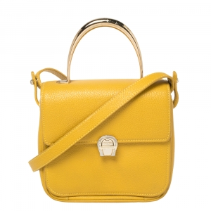 Aigner Mustard Yellow Leather Genoveva Top Handle Bag