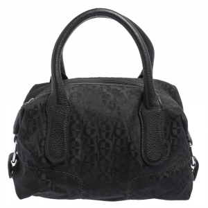 Aigner Black Signature Nylon and Leather Satchel