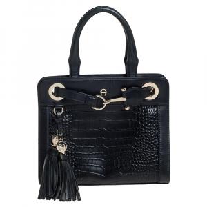 Aigner Black Crocodile Embossed Leather Cavallina Top Handle Bag