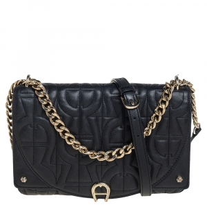 Aigner Black Logo Embossed Flap Chain Shoulder Bag