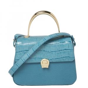 Aigner Blue Croc Embossed Leather Genoveva Top Handle Bag