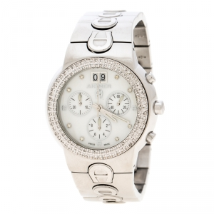 Aigner White Mother of Pearl Stainless Steel and Diamonds Ancona A18100 Women's Wristwatch 40 mm