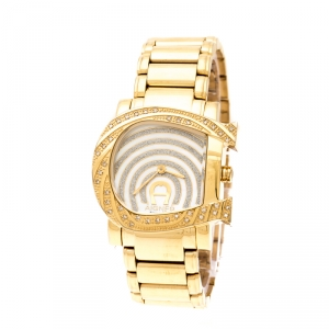 Aigner White Mother of Pearl Gold Plated Stainless Steel Diamonds Genua Due A31600 Women's Wristwatch 31 mm