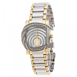 Aigner White Mother of Pearl Two-Tone Stainless Steel Diamonds Genua Due A31600 Women's Wristwatch 31 mm