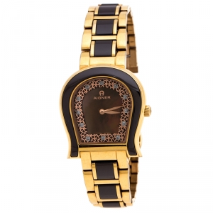 Aigner Brown Mother of Pearl Brown Ceramic Gold Plated Stainless Steel Altamura A56000 Women's Wristwatch 34 mm