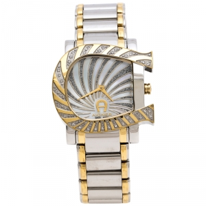 Aigner  Mother of Pearl Two-Tone Stainless Steel Diamonds Genua Due A31600 Women's Wristwatch 31 mm