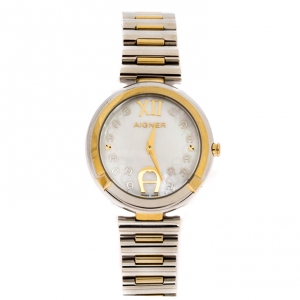 Aigner Mother Of Pearl Two-Tone Stainless Steel Gorizia A106200 Women's Wristwatch 33 mm