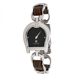 Aigner Black Stainless Steel Leather Perugia A07200 Women's Wristwatch 24.50 mm