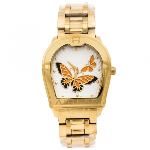 Aigner Silver Orange Butterfly Motif Gold Plated Stainless Steel Verona A48300 Women's Wristwatch 36 mm