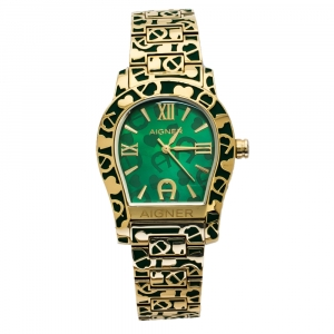 Aigner Green Gold Tone Stainless Steel Faenza A134300 Women's Wristwatch 34 mm