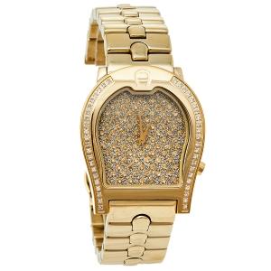 ساعة يد نسائية أيغنر فيرونا ايه01100 ألماس و ستانلس ستيل مطلي ذهب أصفر 33 مم