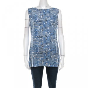 Akris Blue Marina Grande Print Silk Sleeveless Blouse M