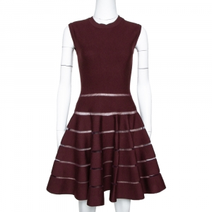 Alaia Burgundy Wool Blend Knit Sleeveless Fit & Flare Dress M