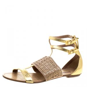 Alaia Gold And Beige Cutout Suede T-Strap Flat Gladiator Sandals Size 40.5