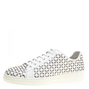 Alaia White Laser Cut Leather Sneakers Size 40