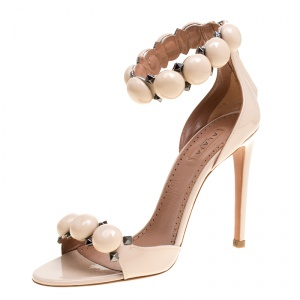 Alaia Beige Patent Leather Bombe Stud Embellished Open Toe Sandals Size 36
