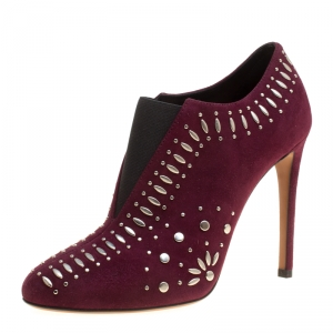 Alaia Burgundy Suede Stud Detail Booties Size 37