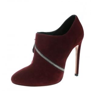 Alaia Burgundy Suede Spiral Zip Booties Size 38
